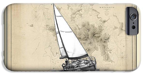 Full Sail iPhone Cases - Sailing Hong Kong Harbor iPhone Case by Jack Pumphrey
