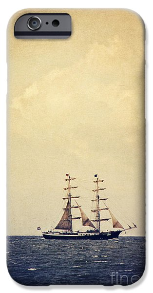 North Sea Mixed Media iPhone Cases - Sailing II iPhone Case by Angela Doelling AD DESIGN Photo and PhotoArt