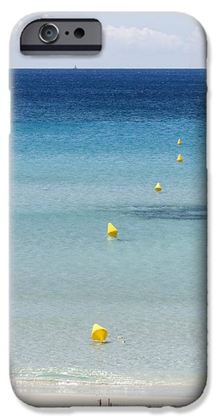 Island Stays iPhone Cases - Son Bou beach in south coast of Menorca is a turquoise treasure - Sailing in blue iPhone Case by Pedro Cardona