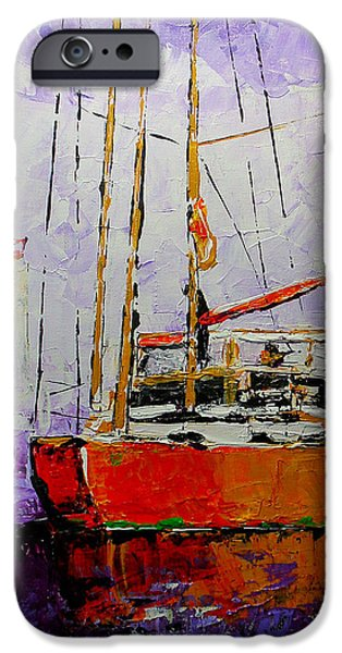 Lighthouse Mixed Media iPhone Cases - Sailing in the Mist iPhone Case by Vickie Warner