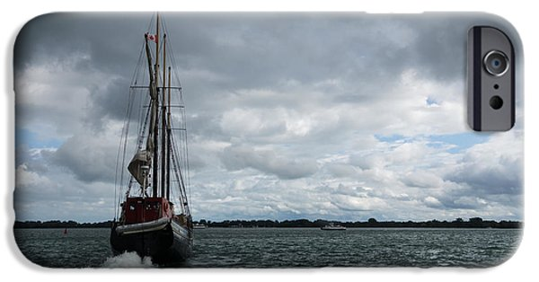 Tall Ship iPhone Cases - Sailing Into the Storm iPhone Case by Georgia Mizuleva