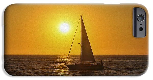 Sailboat Ocean iPhone Cases - Sailing into the sunset iPhone Case by Aged Pixel