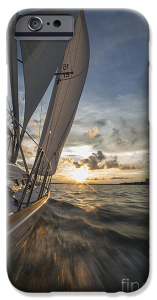 Sailing Yacht iPhone Cases - Sailing Into the Sunset Charleston SC iPhone Case by Dustin K Ryan