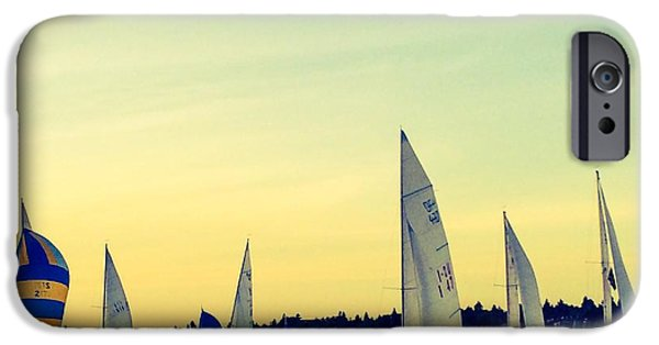 Boat iPhone Cases - Sailing Lake Union iPhone Case by Richard Lawrence