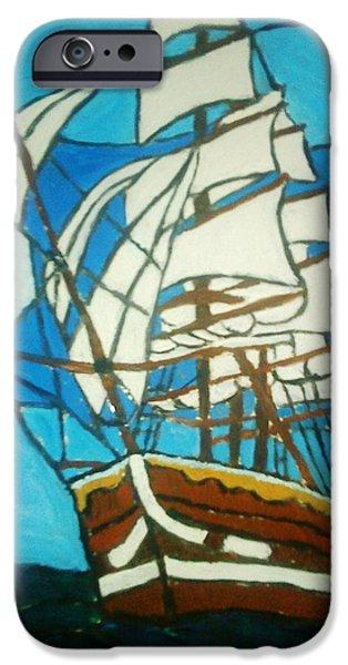 Sailing Glass Art iPhone Cases - Sailing iPhone Case by Maria Dunai-Kovacs