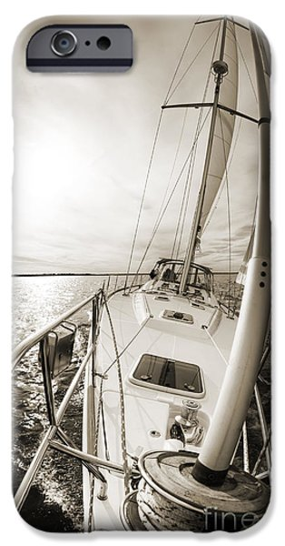 Sailing Photographs iPhone Cases - Sailing on a Beneteau 49 Sailboat iPhone Case by Dustin K Ryan