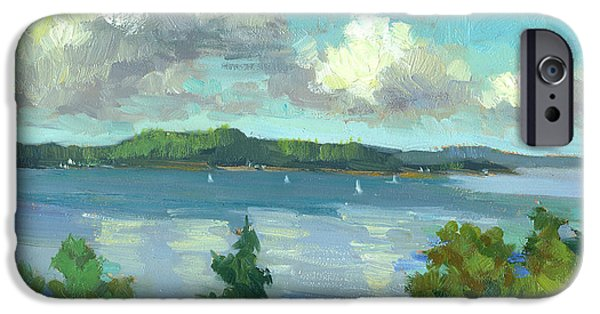 Sailboats iPhone Cases - Sailing on Puget Sound iPhone Case by Diane McClary