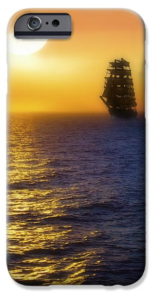 Pirate Ships iPhone Cases - Sailing out of the Fog at Sunrise iPhone Case by Jason Politte