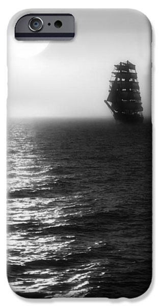 Pirate Ship iPhone Cases - Sailing out of the Fog - Black and White iPhone Case by Jason Politte