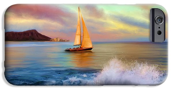 Sailing iPhone Cases - Sailing Past Waikiki iPhone Case by Dale Jackson