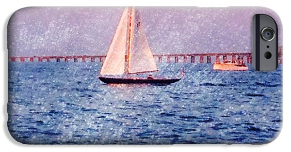 Sailboat Pyrography iPhone Cases - Sailing iPhone Case by Patricia Innes
