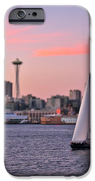Sailboat Photos iPhone Cases - Sailing Puget Sound iPhone Case by Adam Romanowicz