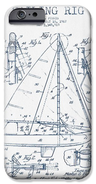 Blue Sailboats iPhone Cases - Sailing Rig Patent Drawing From 1967  -  Blue Ink iPhone Case by Aged Pixel
