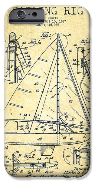 Sailboat Digital Art iPhone Cases - Sailing Rig Patent Drawing From 1967 - Vintage iPhone Case by Aged Pixel