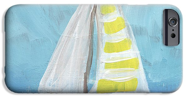 Sailboat Ocean Mixed Media iPhone Cases - Sailing- Sailboat Painting iPhone Case by Linda Woods