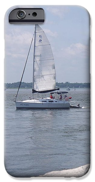 Sailboats iPhone Cases - Sailing Sailing iPhone Case by Rosanne Bartlett