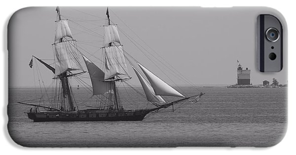 Brig iPhone Cases - Sailing Ship And Lighthouse iPhone Case by Dan Sproul