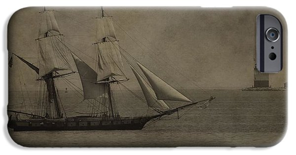 Boaters iPhone Cases - Sailing Ship And Round Island Light iPhone Case by Dan Sproul