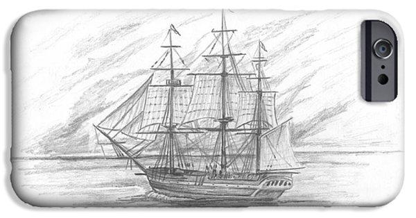 Enterprise Drawings iPhone Cases - Sailing Ship Enterprise iPhone Case by Michael Penny