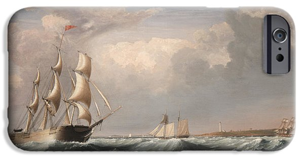 Boat iPhone Cases - Sailing Ships off the New England Coast iPhone Case by Fitz Hugh Lane