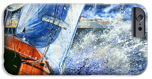Sailboats In Harbor iPhone Cases - Sailing Souls iPhone Case by Hanne Lore Koehler