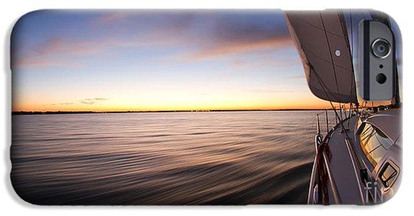 Sailboat iPhone Cases - Sailing Sunset Beneteau 49 Sailboat iPhone Case by Dustin K Ryan