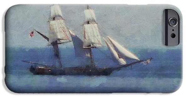 Brig iPhone Cases - Sailing The Blue Sea iPhone Case by Dan Sproul