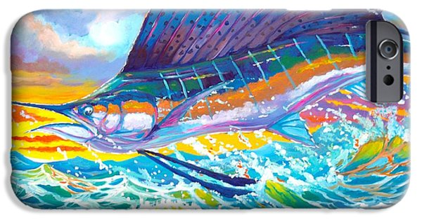 Sailfish Paintings iPhone Cases - Sailing the sunset  iPhone Case by Yusniel Santos