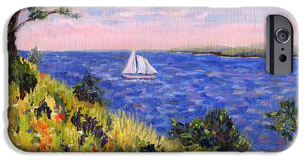 Penobscot Bay Paintings iPhone Cases - Sailing through Belfast Maine iPhone Case by Pamela Parsons