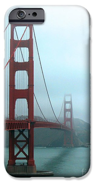 Sausalito iPhone Cases - Sailing Under the Golden Gate Bridge iPhone Case by Connie Fox
