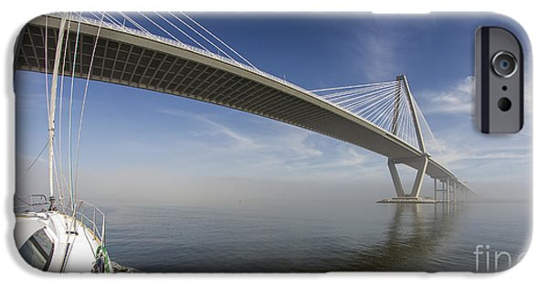 Sailing iPhone Cases - Sailing Under the Ravenel Bridge Charleston SC iPhone Case by Dustin K Ryan