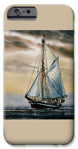 Sailing Ship Framed Prints iPhone Cases - Sailing Vessel SEUTE DEERN iPhone Case by James Williamson
