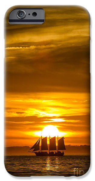 Sailing Yacht iPhone Cases - Sailing Yacht Schooner Pride Sunset iPhone Case by Dustin K Ryan