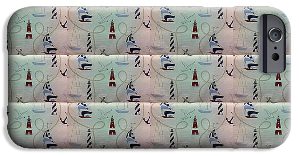 Lighthouse Tapestries - Textiles iPhone Cases - Sailor Print Duvet iPhone Case by Barbara Griffin