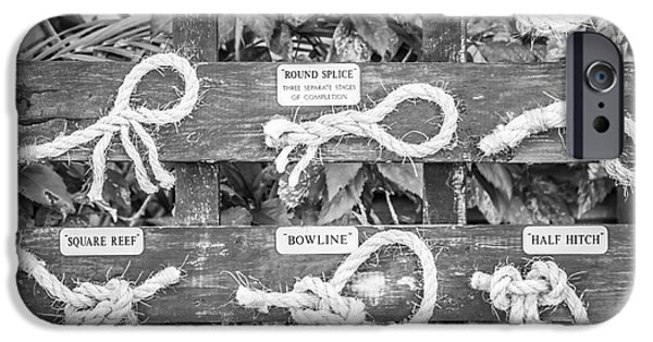 Retired iPhone Cases - Sailors Knots Key West Square - Black and White iPhone Case by Ian Monk