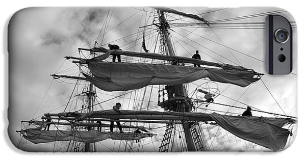 Sailing iPhone Cases - Sailors working in the rigging - monochrome iPhone Case by Intensivelight