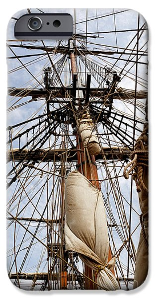 Tall Ship iPhone Cases - Sails Aboard the HMS Bounty iPhone Case by Michelle Wiarda