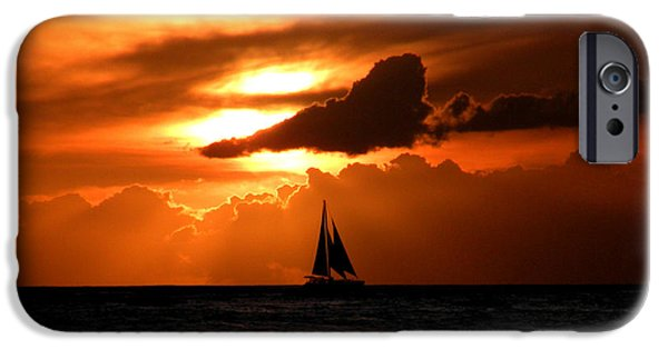 Sailboat Ocean iPhone Cases - Sails in the Sunset iPhone Case by Micki Findlay