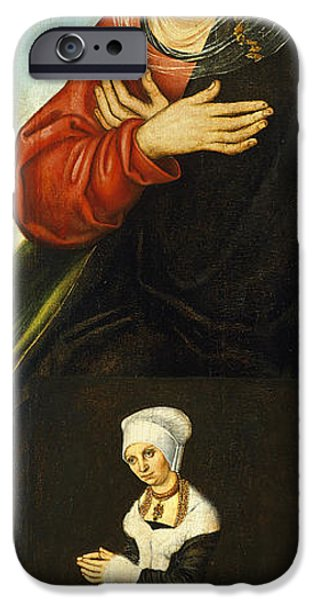 Duchess Paintings iPhone Cases - Saint Anne with the Duchess Barbara of Saxony as Donor iPhone Case by Lucas Cranach the Elder