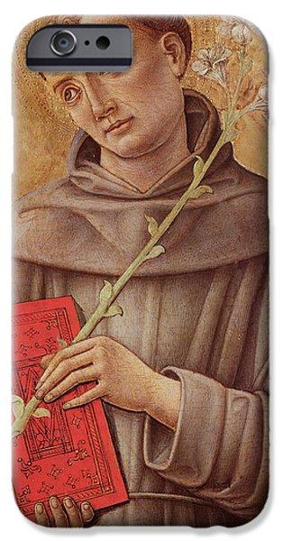 Renaissance Paintings iPhone Cases - Saint Anthony of Padua  iPhone Case by Bartolomeo Vivarini