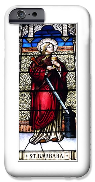 Artists4god iPhone Cases - Saint Barbara Stained Glass Window iPhone Case by Rose Santuci-Sofranko