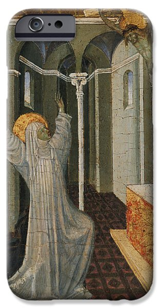Saint Catherine iPhone Cases - Saint Catherine of Siena Receiving the Stigmata iPhone Case by Giovanni di Paolo