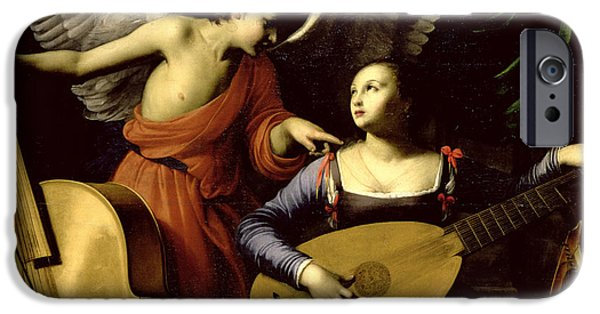 Lute Paintings iPhone Cases - Saint Cecilia and the Angel iPhone Case by Carlo Saraceni