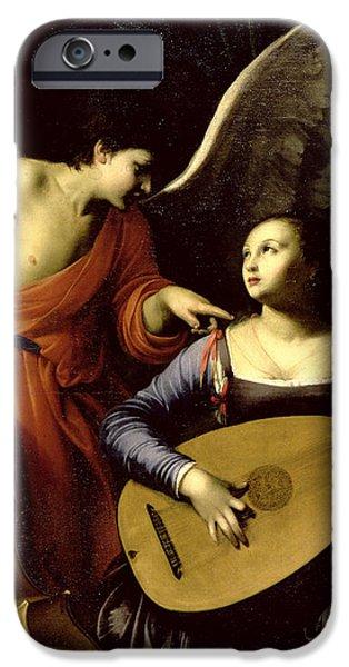 Saint Cecilia and the Angel iPhone Case by Carlo Saraceni