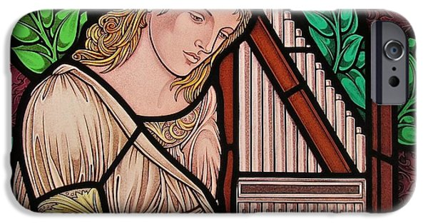 Sacred Glass Art iPhone Cases - Saint Cecilia iPhone Case by Gilroy Stained Glass