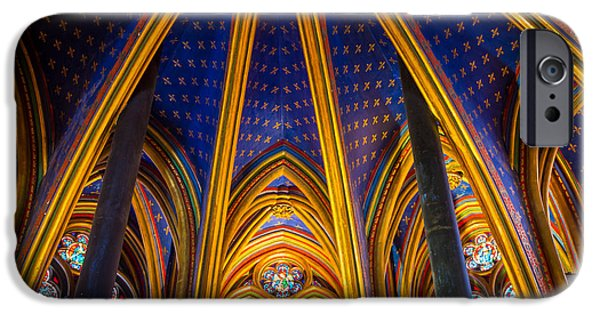 Gild iPhone Cases - Saint Chapelle Ceiling iPhone Case by Inge Johnsson