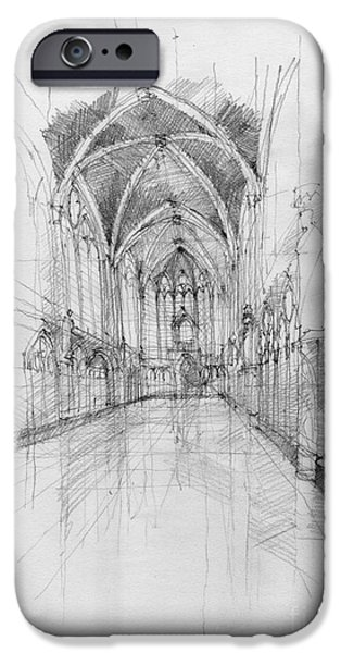 Religious Drawings iPhone Cases - Saint Chapelle interior iPhone Case by Peut Etre