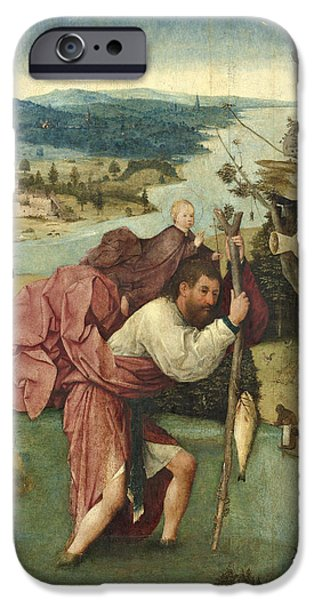 Saint Christopher iPhone Cases - Saint Christopher iPhone Case by Hieronymus Bosch
