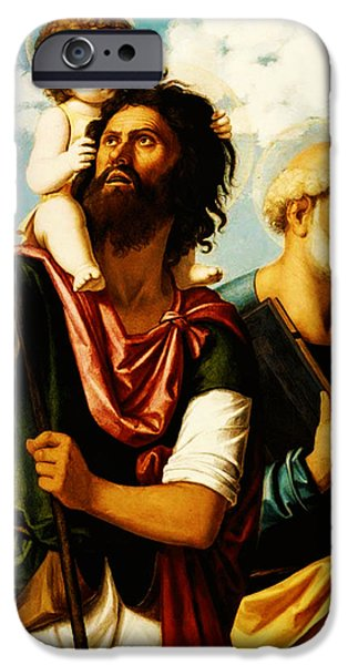 Saint Christopher iPhone Cases - Saint Christopher with Saint Peter iPhone Case by Digital Reproductions