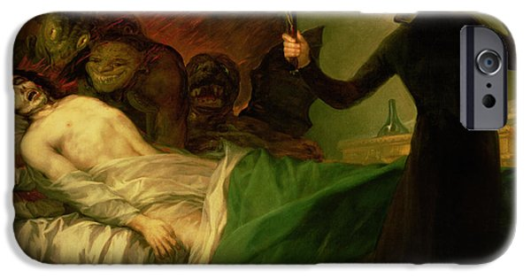 Sickness iPhone Cases - Saint Francis Borgia Helping a Dying Impenitent iPhone Case by Goya